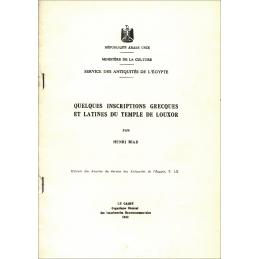 Quelques inscriptions grecques et latines du temple de Louxor