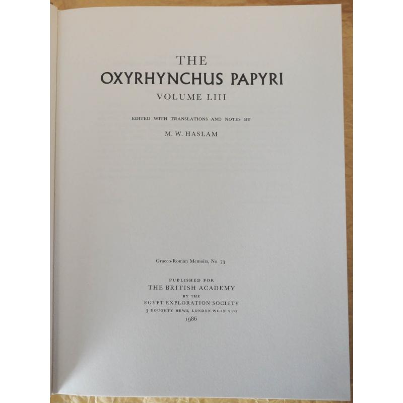The Oxyrhynchus Papyri, Volume LIII