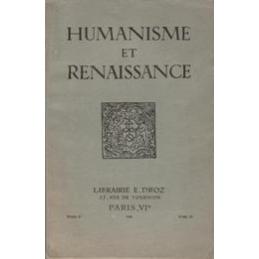 Humanisme et Renaissance, tome II fasc. III - juillet-septembre 1935