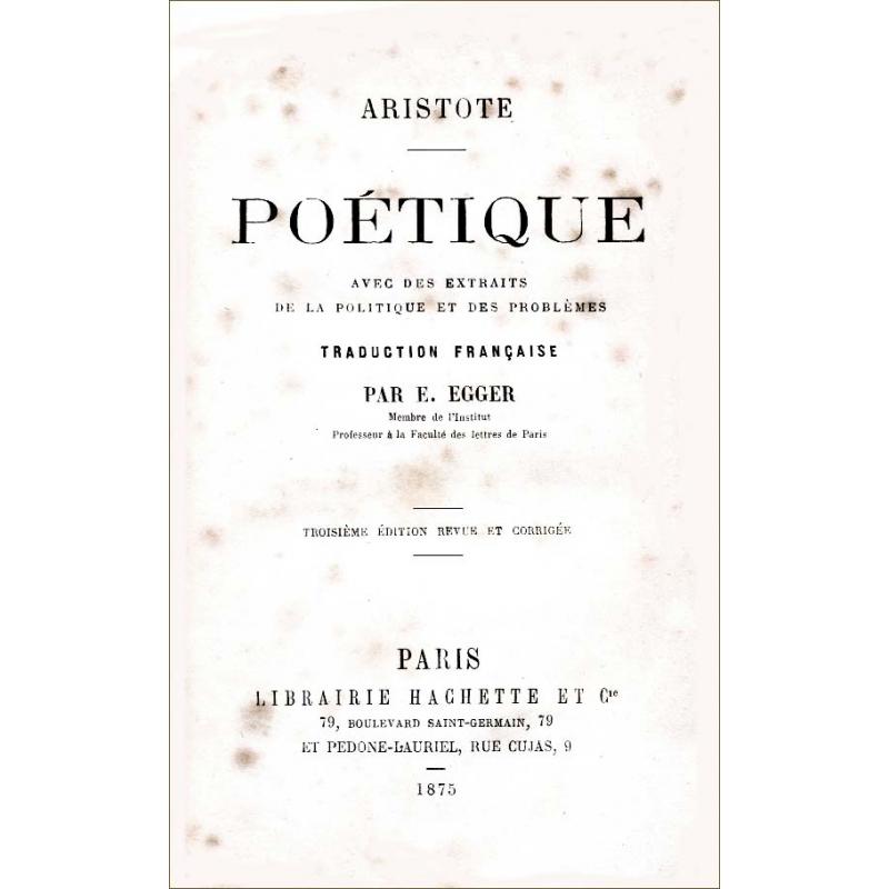 Poétique avec des extraits de la Politique et des Problèmes (traduction)