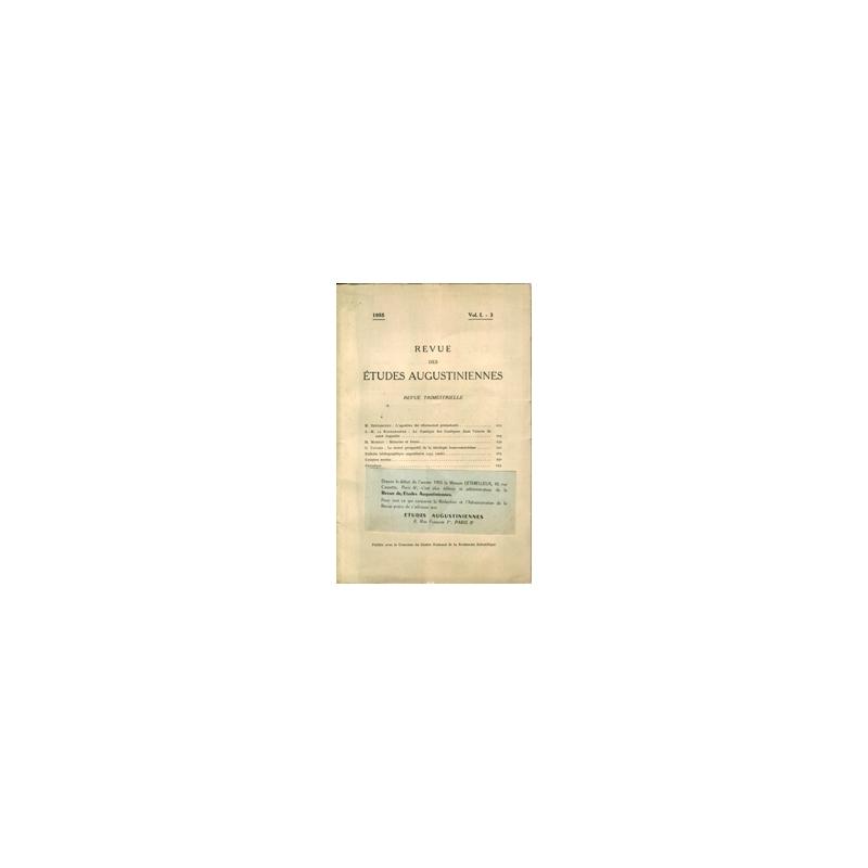 Revue des études augustiniennes, 1955 - Vol. I, 3