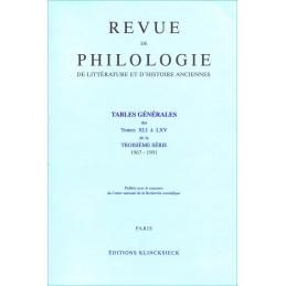 Tables générales des tomes XLI à LXV de la troisième série 1967-1991