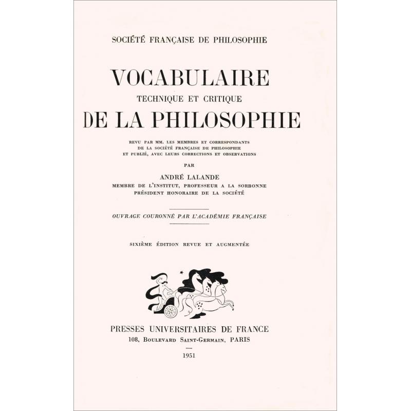 Vocabulaire technique et critique de la philosophie