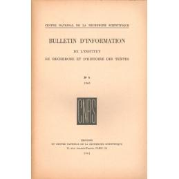 Bulletin d'information de l'Institut de recherche et d'histoire des textes n° 9. 1960