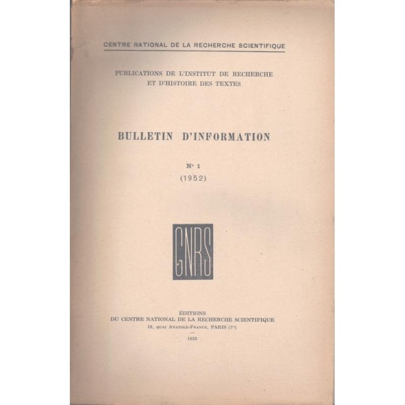 Bulletin d'information n° 1 (1952).