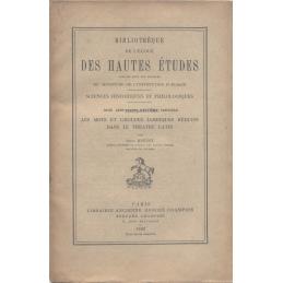 Les Mots et groupes ïambiques réduits dans le théâtre latin. Plaute - Térence, fragments de tragédies et de comédies