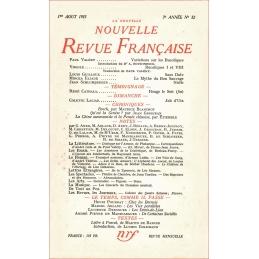 La Nouvelle revue française. 1er Août 1955 - 3e année, n°32