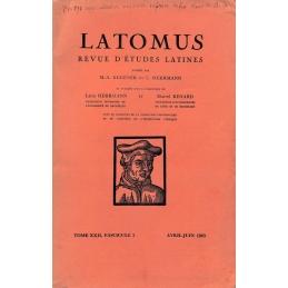 Latomus. Revue d'études latines. Tome XXII, Fascicule 2. Avril-Juin 1963