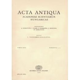 Acta Antiqua Academiae Scientiarum Hungaricae. Tomus XVII. Fasciculi 3-4