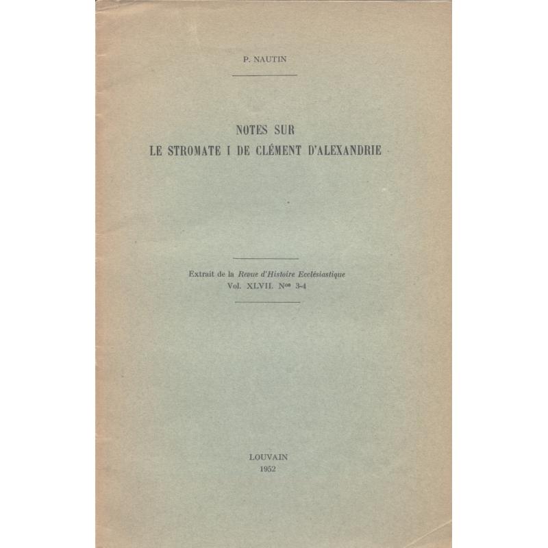 Notes sur le Stomate I de Clément d'Alexandrie