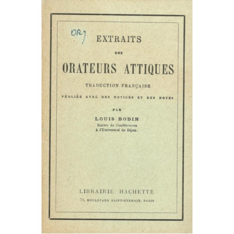 Extraits des Orateurs Attiques (traduction)