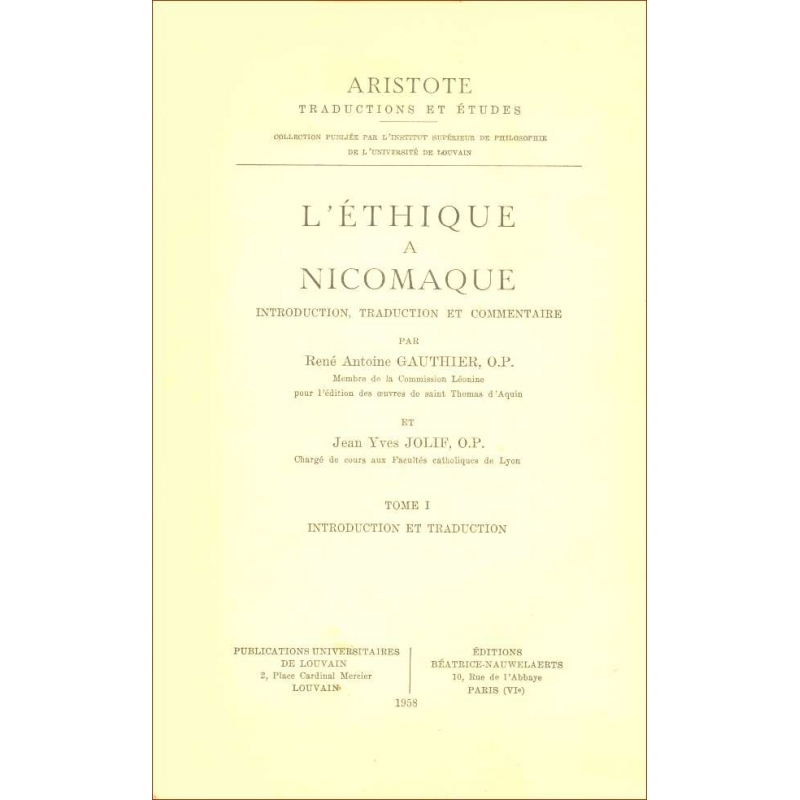 L'Ethique à Nicomaque