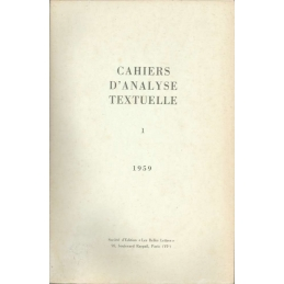 Cahiers d'analyse textuelle n°1