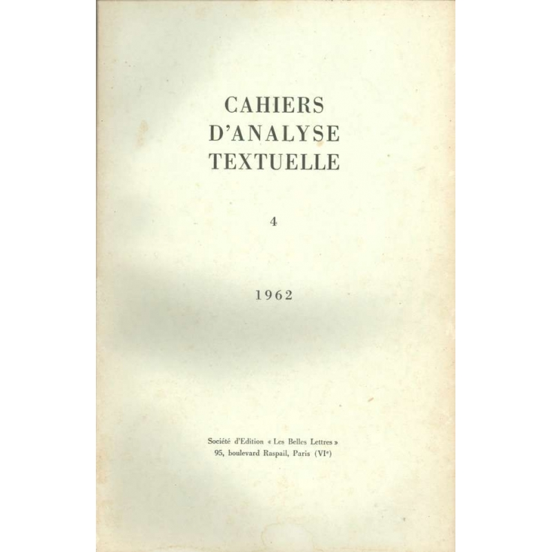 Cahiers d'analyse textuelle n°4