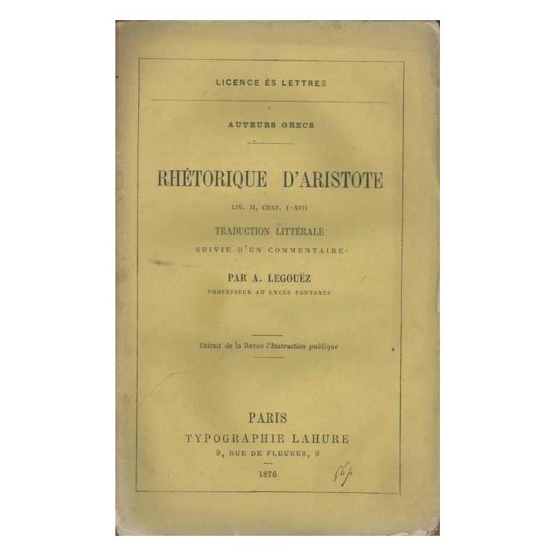 Rhétorique, liv. II, chap. I-XVII